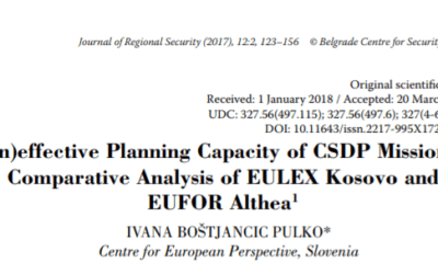 (In)effective Planning Capacity of CSDP Mission: Comparative Analysis of EULEX Kosovo and EUFOR Althea