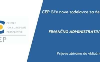 CEP išče nove sodelavce: Razpis za delovno mesto Finančno administrativni referent